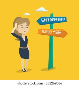 Young woman standing at road sign with two career pathways - entrepreneur and employee. Woman choosing career way. Woman making a decision of career. Vector flat design illustration. Square layout.