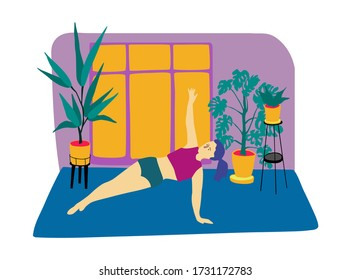 Young woman stays in side plank. Flat style vector illustration. Home fitness concept. Stay home and fit.Girl practices yoga in her room.Neon colors style.
