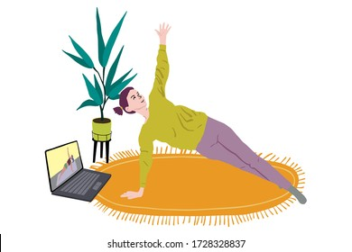 Young woman stays in side plank.Girl practices yoga in room.Home fitness concept.Online fitness training.Laptop with trainer on screen and character repeats exercises on the carpet.Flat style vector.
