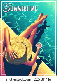 Young woman sunbathing on the pool edge. Handmade drawing vector illustration. Vintage style.