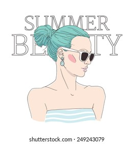 Young woman with sunglasses and on-trend top-knot hairstyle: hand drawn vector illustration. Summer fashion accessories.
