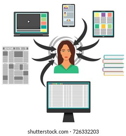Young woman surrounded by gadgets, books and Newspapers. Computer, smart phone, tablet, laptop and hands them to the woman s head. Information overload concept. Vector.