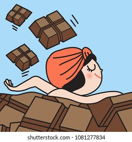 Young Woman Swimming Her Way Through A Sea Of Chocolate Bars. Concept Of Chocolate Lovers Card Character illustration