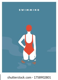 young woman in the swimming pool. girl swimmer in bathing suits and swimming caps. water sport and swimwear girl. swimsuit, recreation and leisure. The view from the back. flat Vector illustration.