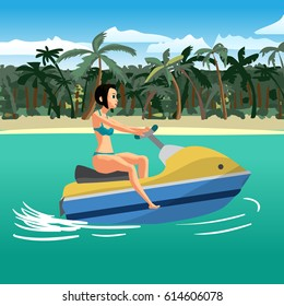 Young woman in a swimsuit is floating on a scooter near a tropical beach. The girl is riding on jet ski boat. Vector cartoon flat illustration
