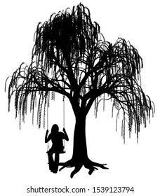 Young woman is swinging on a swing under weeping willow tree