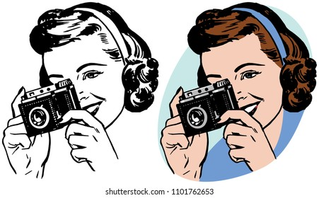 A young woman takes a photo with a vintage camera.