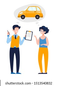 Young woman talking to a driving instructor. A satisfied instructor gives permission to drive. Driving school concept, driver's license, traffic rules. Vector flat illustration on white background.