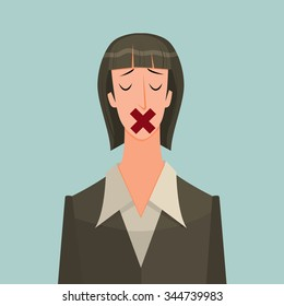 Young woman with tape over his mouth as a metaphor or symbol of some people who know the truth but could not tell or business secrets.