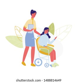 Young Woman Teacher with Book in Hands Pushing Disabled School Girl Sitting in Wheelchair. Character Support Friend, Handicapped Person Education, Rehabilitation, Cartoon Flat Vector Illustration
