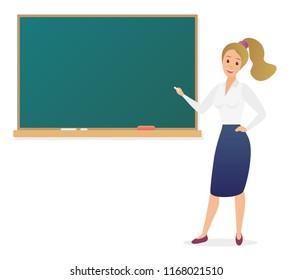 Young woman teacher standing in front of blank school blackboard vector illustration. Cute cartoon school female teacher.