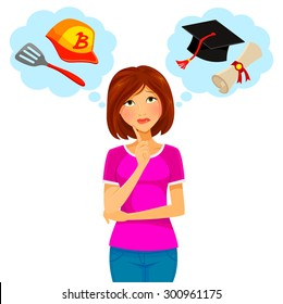 young woman thinking about college and part time job