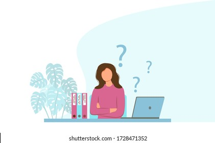 Young woman is thinking in the workplace. Workplace with a laptop. The concept of fatigue, disappointment, problems at work or learning issues. Pensive woman. Female character and question marks.