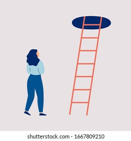 Young woman thinks to make a next step into the future. Girl in doubt and indecision stands of the stairs to the top. Concept of a difficult choice, decision making. Colorful vector