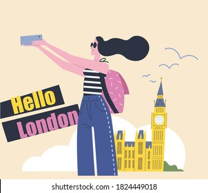 Young woman tourist female traveler making a selfie in front of Big Ben in London Britain England. Vector illustration. Flat design.