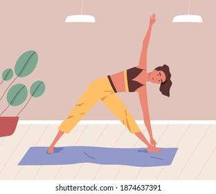 Young woman training or practising yoga at home. Female character stretching indoors. Yogini doing parivritta trikonasana asana on mat. Vector illustration in flat cartoon style