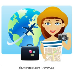 Young woman traveling around the world with a map and a camera