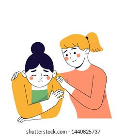 young woman try to comfort her best friend from stress and sad, vector character illustration, girl support system concept,