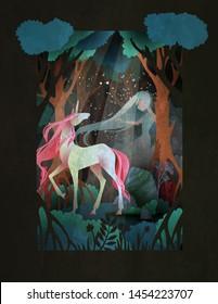 Junge Frau und Einhorn vor dem Nachtwald, Märchengrafik