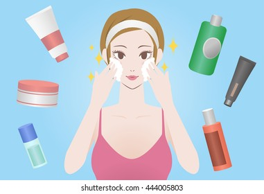 young woman using cleansing soap and various cosmetics, before after image illustration