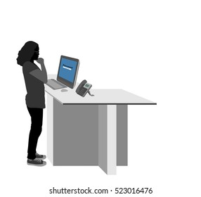 Young woman using a computer for registration vector silhouette people on a white background