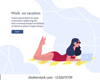 Young woman using laptop computer on a beach. Freelance work concept. Freelancer working on vacation