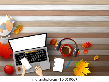 Young woman using laptop computer with autumn leaves on wood background vector illustration