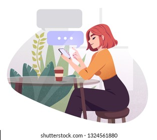 Young Woman Using Smartphone Working And Drinking Coffee At Outdoor Cafe. Girl Browsing Internet, Chatting, Blogging