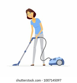 Young woman with a vacuum cleaner - cartoon people characters illustration isolated on white background. An image of a cute cheerful housewife doing household chores. Daily routine theme