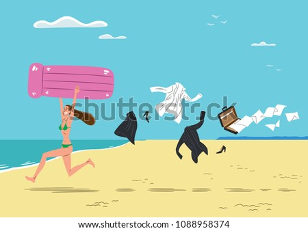 Young Woman Very Happy While She Stock Vector Royalty Free