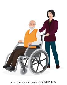 Young woman volunteer caring old disabled man in wheelchair.