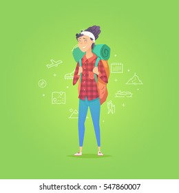 Young woman walking alone.  Adventure travel. Summer vacation. Around the world. Cartoon style. Vector illustration.