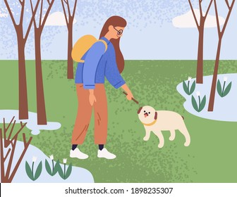 Young woman walking and playing with dog in park on a sunny spring day. Pet owner spending leisure time with puppy in nature. Colored flat textured vector illustration