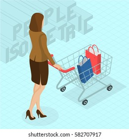Young woman walking with shopping cart. Back view.  Isometric 3d flat design vector people different characters, styles and professions, full length diverse acting poses collection