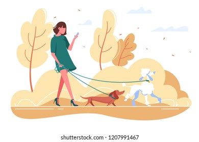 Young woman walks with dog through the woods. Concept girl in green dress with dachshund, poodle, smartphone. Vector illustration.