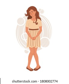 Young woman wants to pee. People in uncomfortable situations. Vector illustration drawing in flat style.