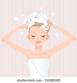 Young woman washing her head with shampoo in bathroom.File contains Gradients, Blending tool.