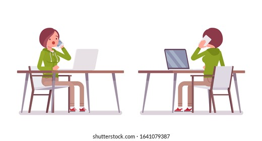 Young woman wearing hoodie sitting, working with laptop at the desk. Cute lady in a casual hoody at home computer, youth city fashion hooded sweatshirt. Vector flat style cartoon illustration