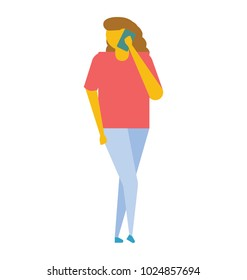 A young woman wearing red top and blue jeans talking on phone, flat vector icon