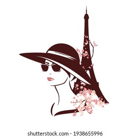 young woman wearing sunglasses and wide brimmed hat among blooming tree branches and eiffel tower - fashion spring in Paris vector design
