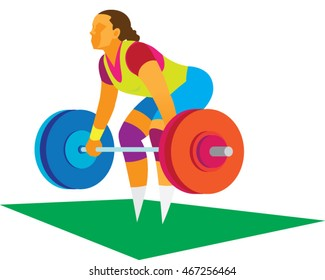 young woman weightlifter attempts to raise the rod