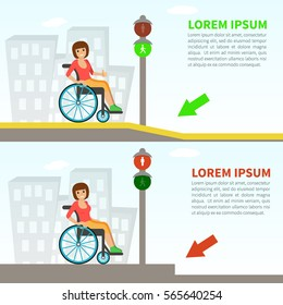 Young woman in a wheelchair on the pavement with ramp and without. Concept for barrier free environment for physically challenged people. Vector illustration. Flat design.