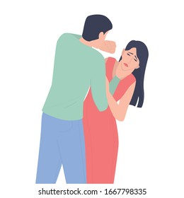 Young woman who is threatened by husband. Male character punching woman in the face. Domestic violence and abuse concept. Isolated vector illustration in cartoon style