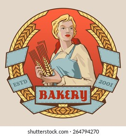 Young woman in working clothes holding grain spikelets vector round label design. Logotype and badge template for bakery product promotion and advertising isolated on white background