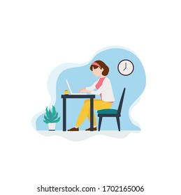Young woman working at home. Work at home concept. Vector illustration in flat design