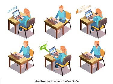 Young woman working with the laptop. Vector isometric composition