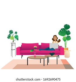 young woman working on her laptop from home, concept illustration. Freelancer with computer in her living room. vector image flat design.