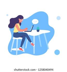 Young woman working on the laptop. Illustration of web template modern style.