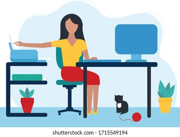 a young woman works at home. remote work. Computer monitor, keyboard, printer, paper. A cat is sitting under the table. Trend flat style. The concept of self-Isolation, quarantine. Vector illustration
