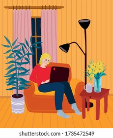Young woman works on laptop as a freelancer. Concept of education online or work at home.Cozy room interior with a blonde girl sits on armchair with laptop on knees.